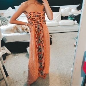 Pink and Orange Patterned Strapless Maxi Dress